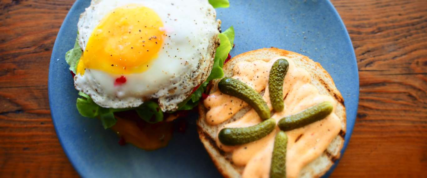 Fried egg and pickle sandwich